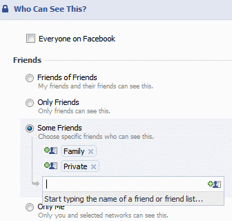 Facebook - customize privacy settings