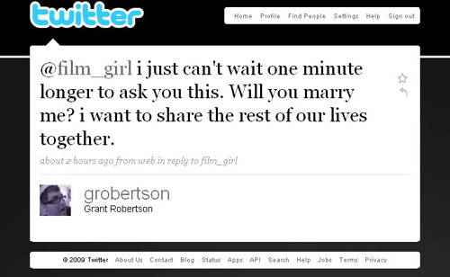 Twitter For a Marriage Proposal